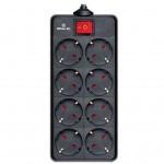 Сетевой фильтр питания REAL-EL REAL-EL RS-8 PROTECT, 3m, black (EL122300022)