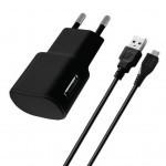 Зарядное устройство Florence USB, 1.0A + cable microUSB black (FW-1U010B-M)