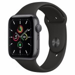 Apple Watch SE GPS 40mm Space Gray Aluminum Case with Black Sport Band (MYDP2)