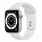 Apple Watch Series 6 GPS 44mm Silver Aluminum Case with White Sport Band (M00D3)
