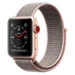 Apple Watch Series 3 (GPS + Cellular) 38mm Gold Aluminum with Pink Sand Sport Loop (MQJU2)