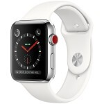 Apple Watch Series 3 (GPS + Cellular) 42mm Stainless Steel with Soft White Sport Band (MQK82)