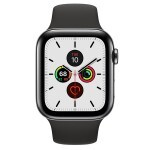 Apple Watch Series 5 (GPS + LTE) 44mm Space Black Stainless Steel Case with Black Sport Band (MWW72, MWWK2)