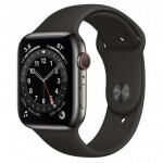 Apple Watch Series 6 GPS + Cellular 44mm Graphite Stainless Steel Case with Black Sport Band (M07Q3)